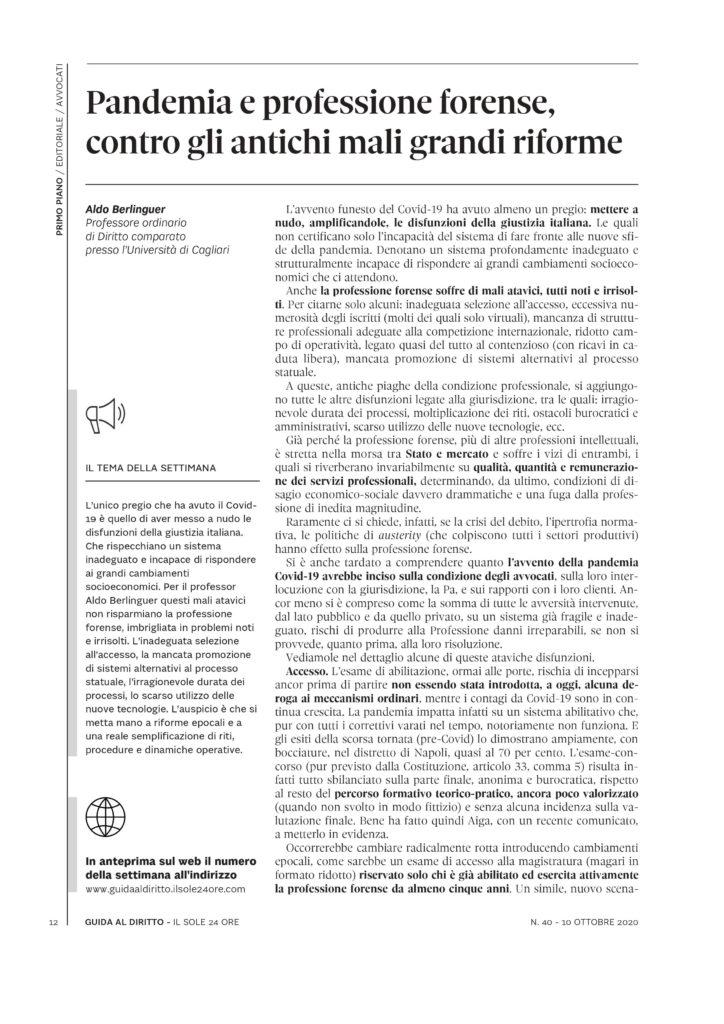 Editoriale di Guida al Diritto, Sole 24 ore, di Aldo Berlinguer pagina 1