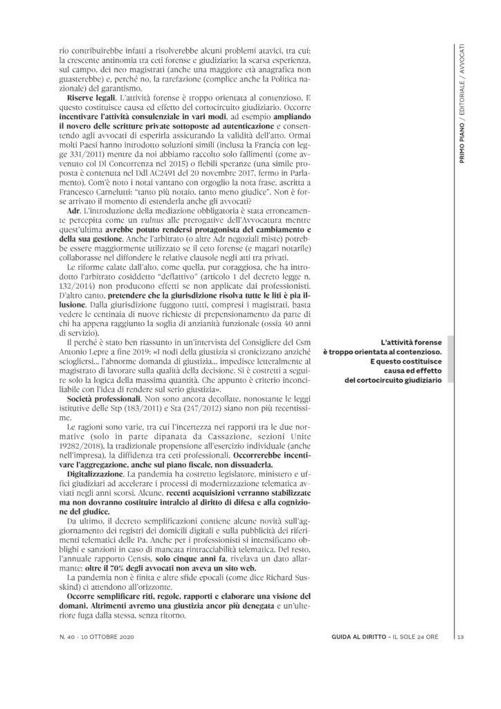Editoriale di Guida al Diritto, Sole 24 ore, di Aldo Berlinguer pagina 2