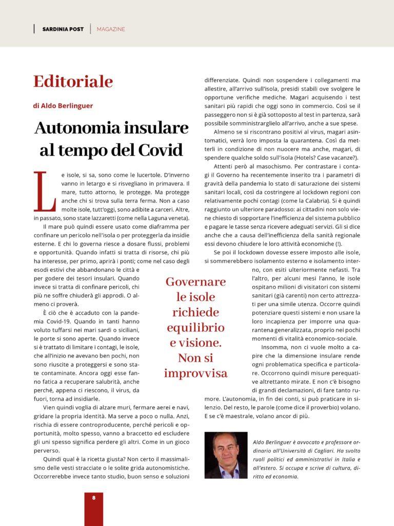 articolo di Aldo Berlinguer, editoria su autonomia insulare al tempo del covid